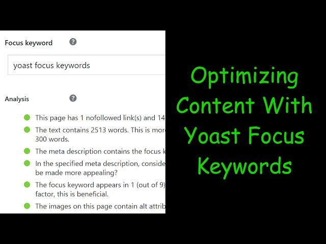 Optimizing Content with yoast focus keywords