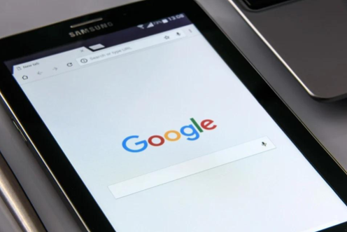 A Samsung tablet showing the Google search engine